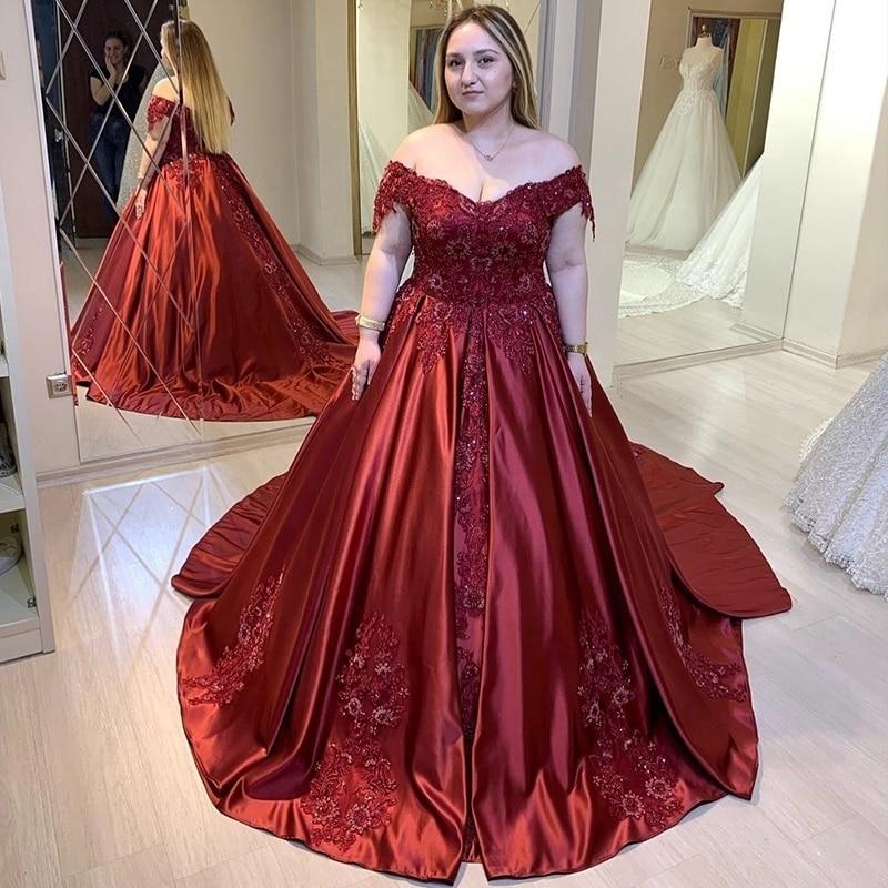 Plus Size Burgundy   Prom     Dresses   Off Shoulder 2020 Floral Flowers Applique Satin Evening Gowns Long Vestido Celebrity   Dresses