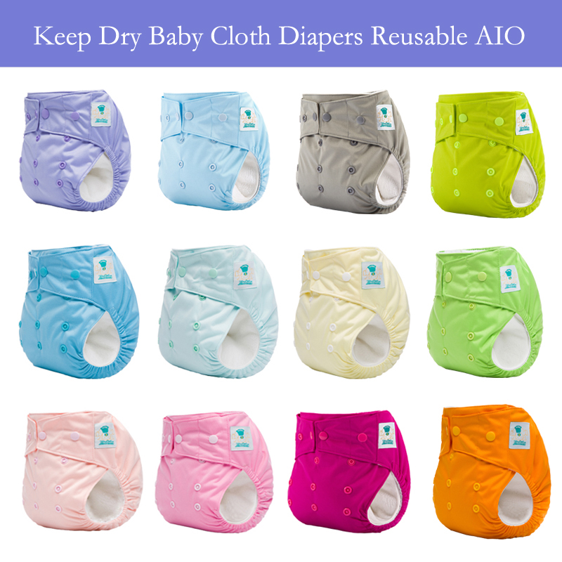 10PCS Love Plain Color Baby Cloth Diaper AIO Keep Dry Reusable Nappies Aio