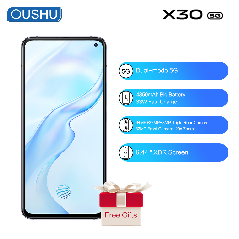 Original 5G vivo X30 Mobile Phone Exynos 980 Android 9.0 20X Zoom 4350mAh Big Battery 33W Fast Charge 64MP Face ID Smartphone image
