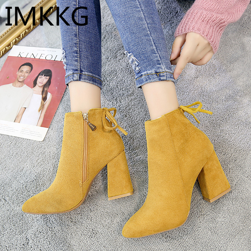 2019 Women Ankle Boots Yellow Color Shoes Woman Zip Boots Sexy High Heels Ankle Boots Female Shoes Booties V254