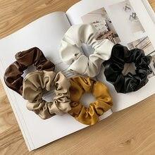 2020 outono inverno novo preto plutônio couro gravata anel de cabelo cavalete cor sólida grande intestino anel para meninas acessórios para cabelo feminino