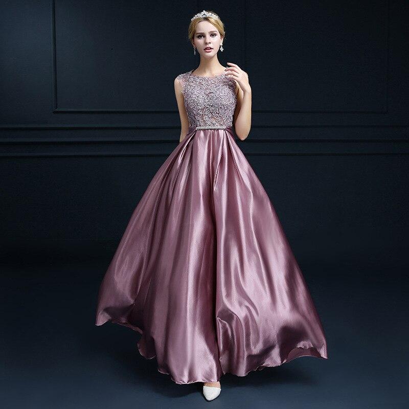 Women's Long Lace Embroidery Sleeveless Satin Formal Evening Dress Prom Evening Party Dress Robe De Soiree/вечернее платье