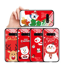 For Samsung Galaxy S7 Edge S8 S9 S10 Plus S10E Shockproof Christmas Case Xmas Tree Snowman Deer ELK Tempered Glass Casing Cover(China)