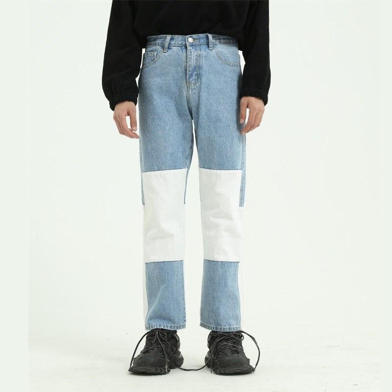 Men Wash Splice Casual Straight Jeans Trousers Korea Japan Style Male Vintage Fashion Streetwear Hip Hop Denim Pant