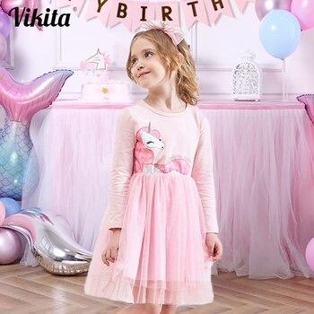 VIKITA Girls Dress Long Sleeve Kids Princess Dresses Children Unicorn Vestidos 2020 Girls Dresses Autumn Kids Dress for Girl