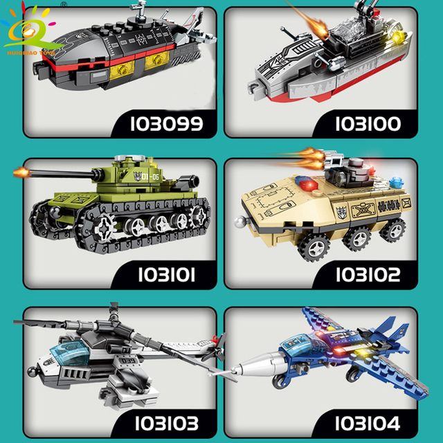 HUIQIBAO 733PCS 6in1 Deformation robot Building Blocks city military Tank Helicopter Trucks Bricks Educational Toys for Children