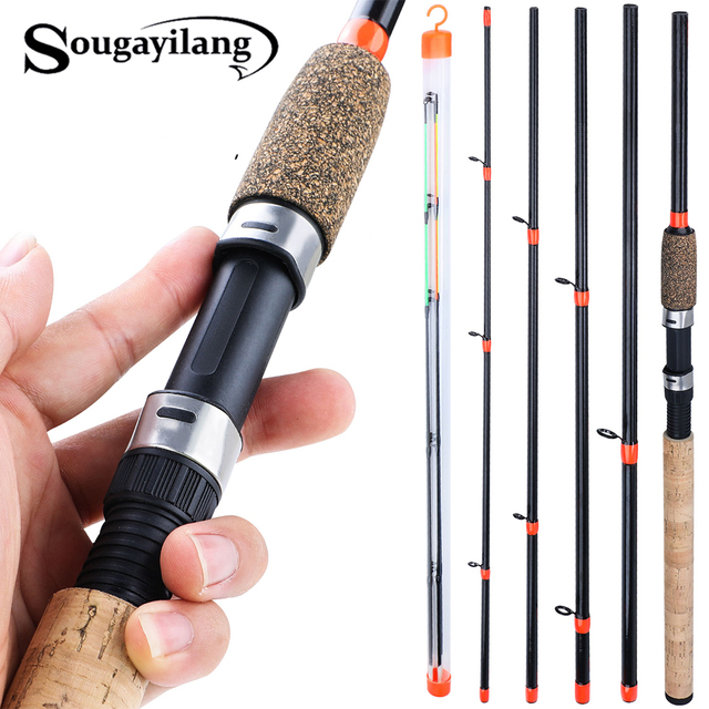 Soogayilang caña alimentadora De 3m, potencia L M H, 6 secciones ultraligera De caña De pescar, caña giratoria De viaje De carbono, aparejos De Pesca