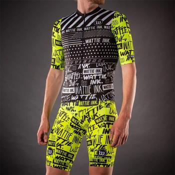 цена на 2020 Wattie ink Pro Team bib Suit mens short sleeve Cycling Maillot Cycling set bike jersey bib shorts suit Ropa ciclismo hombre