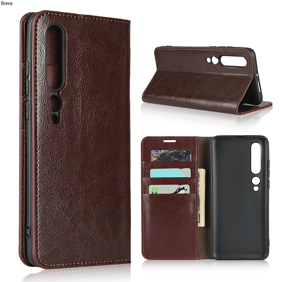 Deluxe Wallet Case For Xiaomi Mi 10 Pro Mi10 5G Genuine Cow Leather Case Flip Cover Real Skin Phone Bags