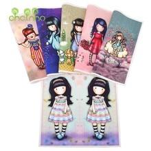 Mão tingida simétrico posicionamento tecido de lona de algodão, meninas série, para diy costura & acolchoado bolsa, livro capa material de decoração