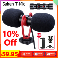 Sairen T Mic Dual Head Super Cardioid Stereo Record Wireless Microphone On Camera DSLR Shutgun Mic Interview Live Streaming