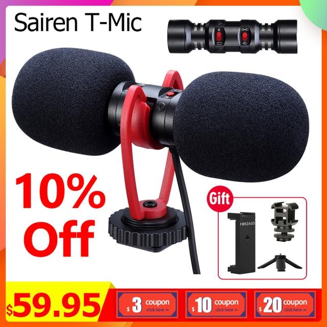 Sairen t mic duplo cabeça super cardióide estéreo registro microfone sem fio na câmera dslr shutgun microfone entrevista ao vivo streaming