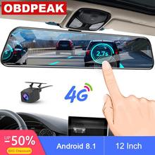 2019 12 Inch Android 8.1 Car DVRs Camera GPS Navi Bluetooth FHD Rear View Mirror with Camera DVR Recorder 4G Wifi ADAS Dash Cam(China)
