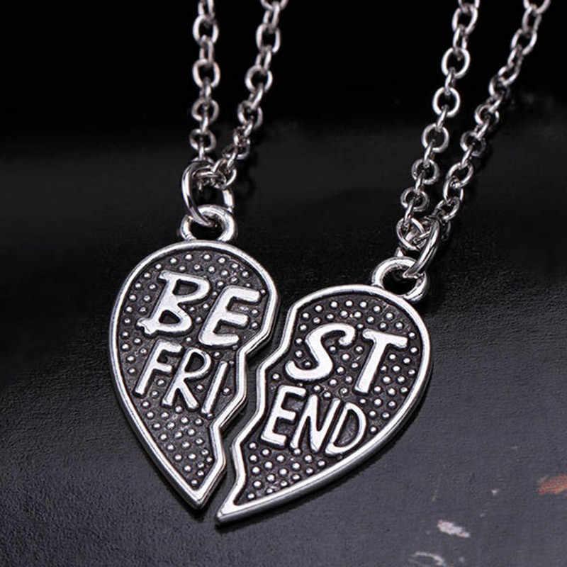 2 uds. De moda corazón puzle mejores amigos BFF collar amistad para mujeres hombres joyas, collares, pendientes collar