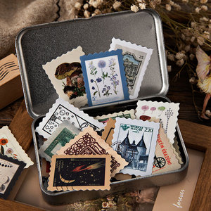 Vintage Stamp Collection Series Journal Decorative Stickers Scrapbooking Stick Label Diary Album Stationery Retro stamp Sticker