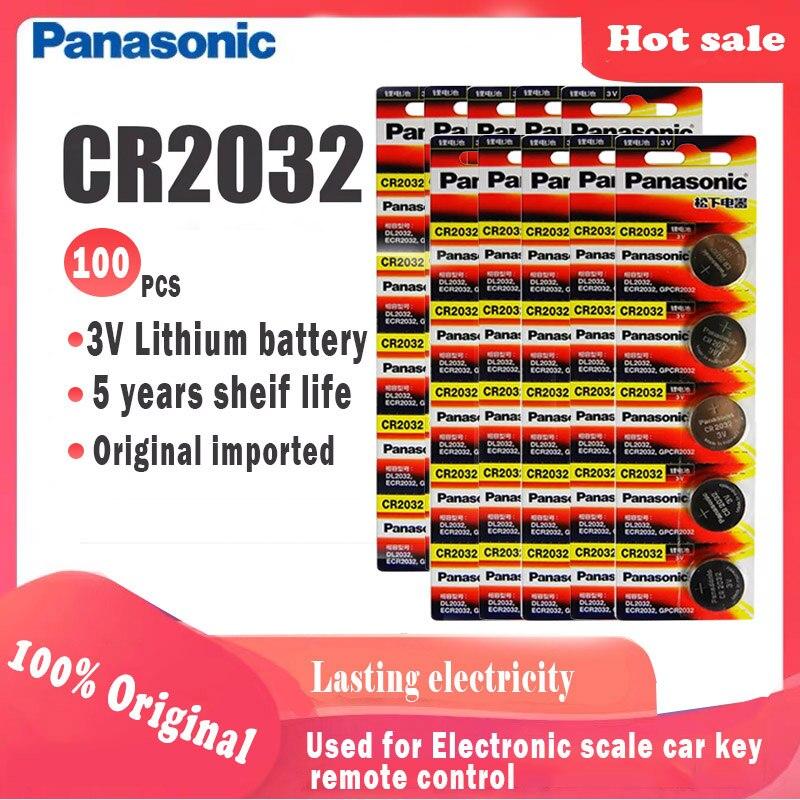 Литиевая батарея Panasonic cr2032 cr 2032 3V для часов, компьютера, пульта дистанционного управления, калькулятор, батарейка для монет, 100 шт.