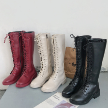 Knee High Boots Women Red White Winter 2019 New Combat For Fashion Punk Boot Soft Black