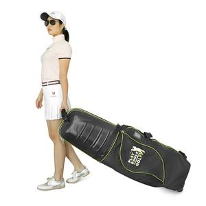 Image 2 - 골프 항공 가방 하드 탑 하단 바퀴 Shockproof 골프 여행 커버 가방 Protable 접는 골프 항공 가방 에어백 골프
