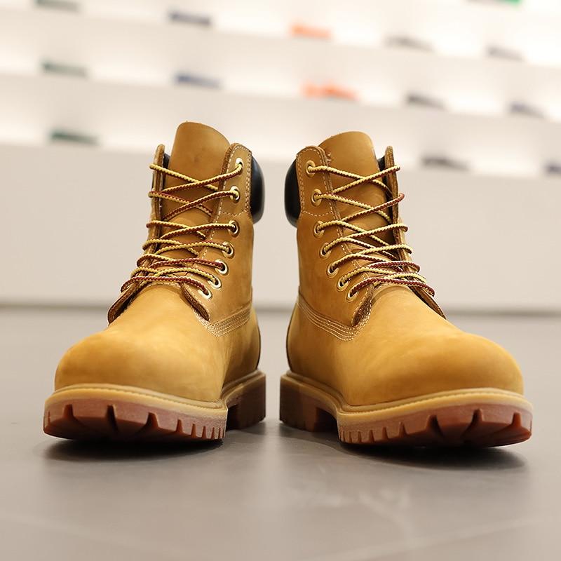 Botas de cuero genuino de lujo para hombre, botas de invierno para hombre, botas de nieve de tobillo con cordones, botas de piel de vaca de primera capa a prueba de agua amarillas zapatos - 3