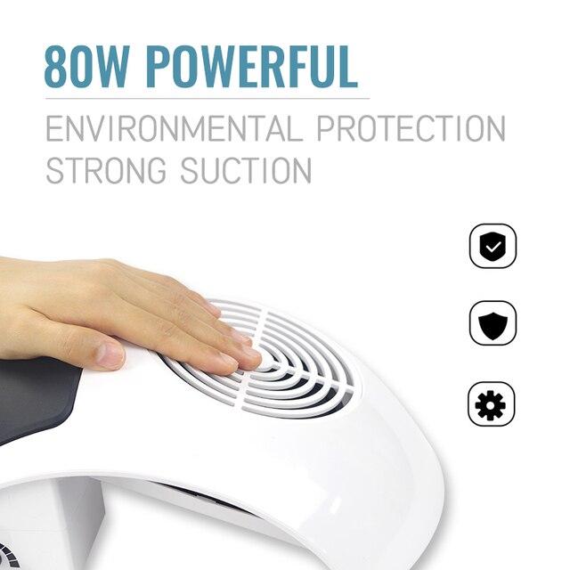 Aspirateur à ongles pour Machine à manucure aspirateur à ongles collecteur de poussière ventilateur à ongles pour la collecte de poussière 80W nettoyeur à ongles puissant