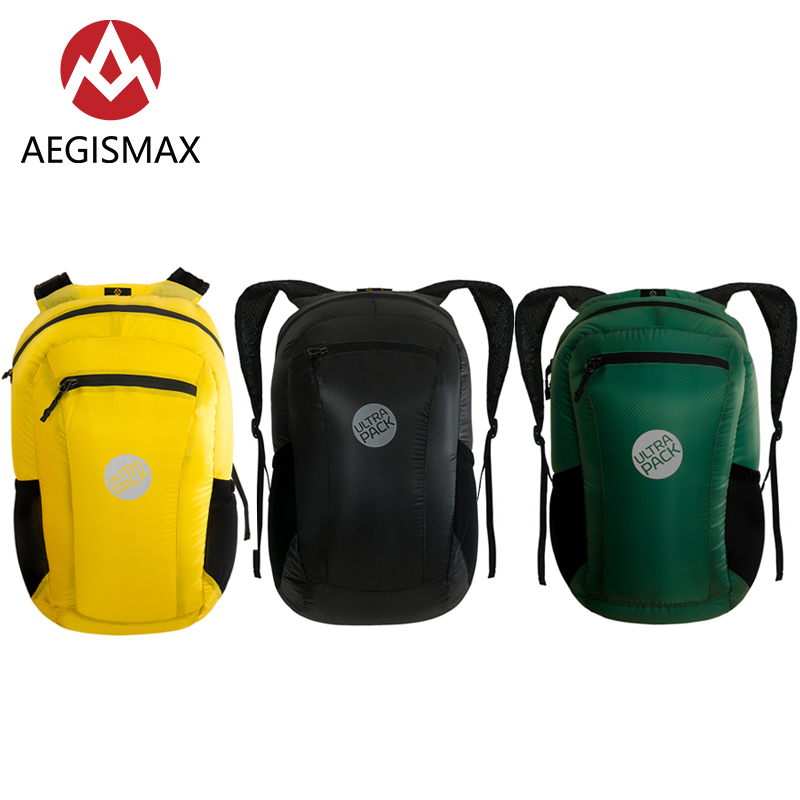 AEGISMAX 18L Collapsible Outdoor Ultra Light Backpack Travel Sports 20D Nylon Waterproof Camping Hiking Bag PU3000