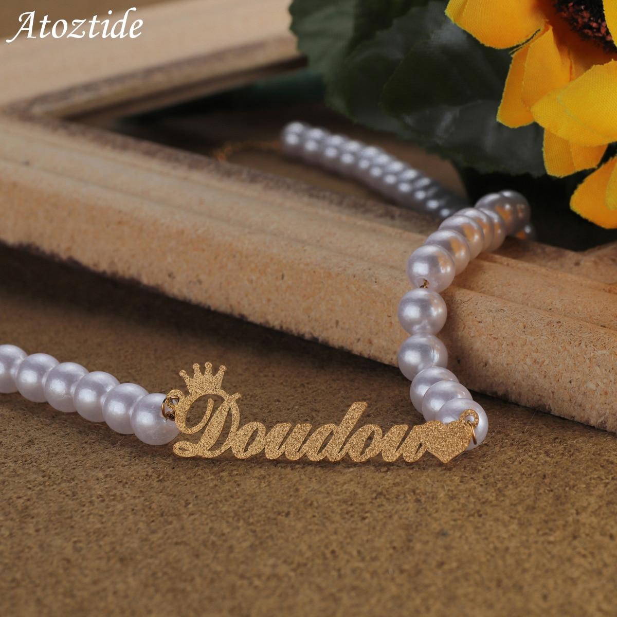 Angepasst Name Halsketten Edelstahl Personalisierte frost Perle Kette Choker Anhänger Erklärung Elegante für Frauen Schmuck