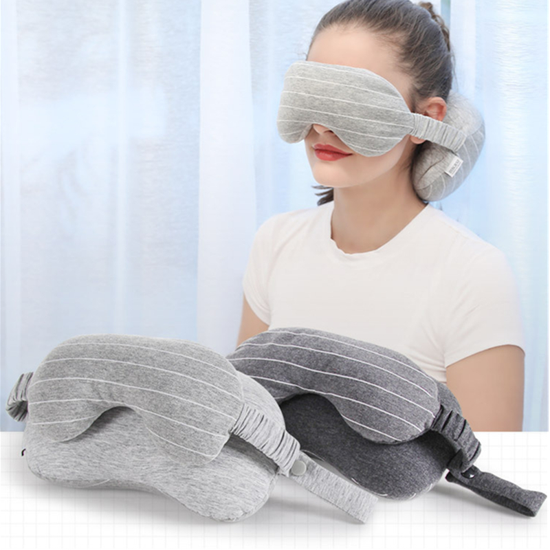 New 2 In 1 Business Travel Eye Mask Neck Pillow With Handle Portable U-shaped Pillow Eye Shield Comfortable Travel Accessories