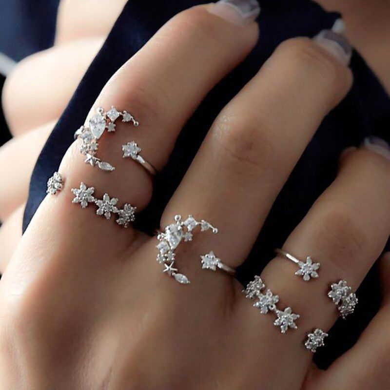 5 teile/satz Schmuck Geschenk Silber Sparkly Sterne Mond Bohemian Wedding Kristall Frauen Blume Set Drill Ringe Charme Mode Stapelbar