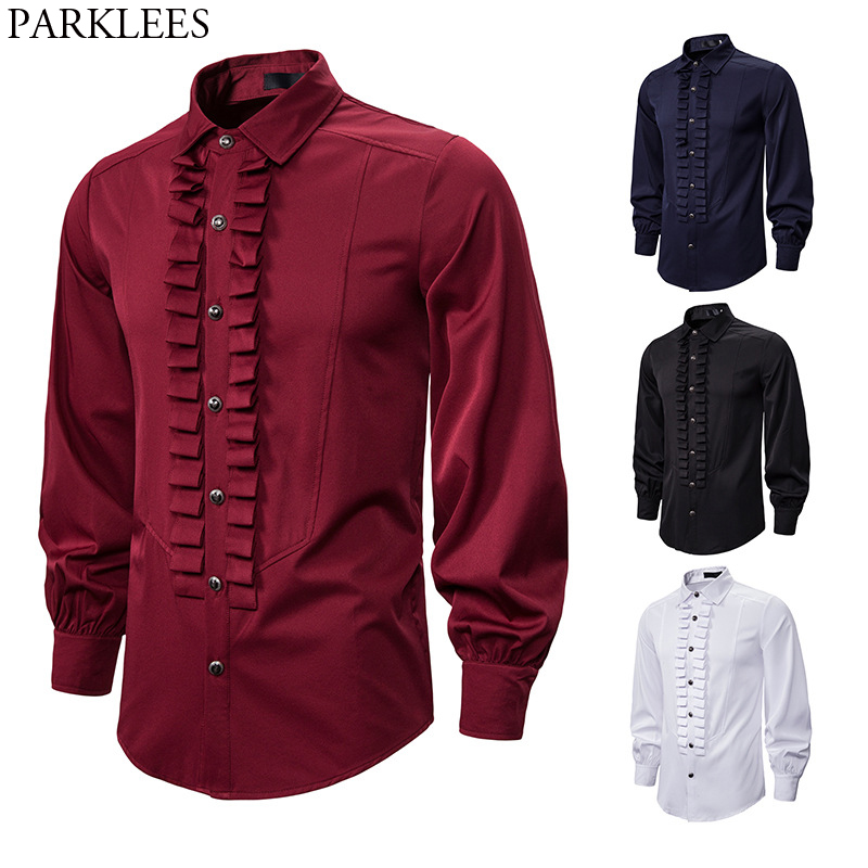 Devil Gothic Steampunk Shirt Men Fashion Ruffles Pleated Vintage Retro Victorian Renaissance Shirts Mens Evening Party Blouse
