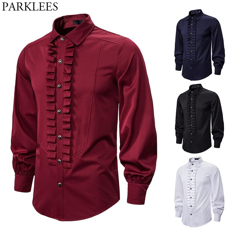 Devil Gothic Steampunk Shirt Men Fashion Ruffles Pleated Vintage Retro Victorian Renaissance Shirts Mens Evening Party Blouse
