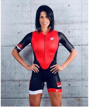 2019 Mulher de manga Curta corpo sexy equipe tri Equipamentos costume roupas de ciclismo ciclismo maillot Ciclismo Triathlon skinsuit 1