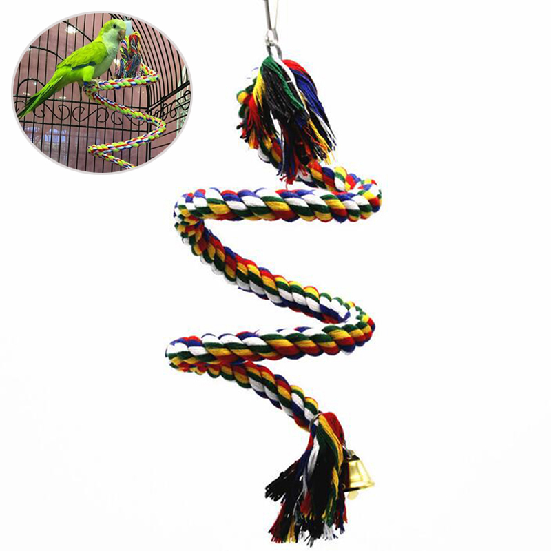 New Parrot Rope Hanging Braided Budgie Chew Rope Bird Cage Cockatiel Toy Pet Stand Training Accessories Conure Swing Supplies