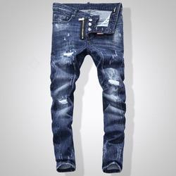 NIEUWE Mannen Jeans Geript voor Mannen Skinny DSQ Jeans Broek Mannen Jeans Knop Uitloper Man Broek