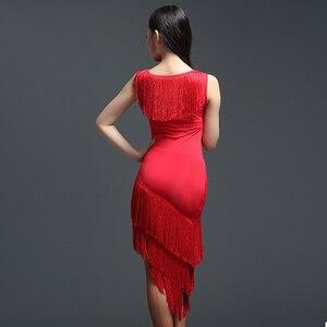 Image 4 - Red Latin Dance Dress Adult Practice Latin Dance Dress Tassel one piece Dess for Women Ballroom Tango Cha Cha Dance Costumes
