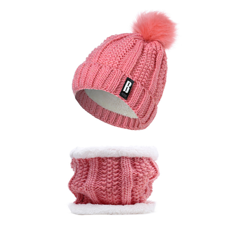 2019 New Cute Pom Poms Winter Hat For Women Fashion Solid Warm Hats Knitted Beanies Cap Brand Thick Female Cap Bib
