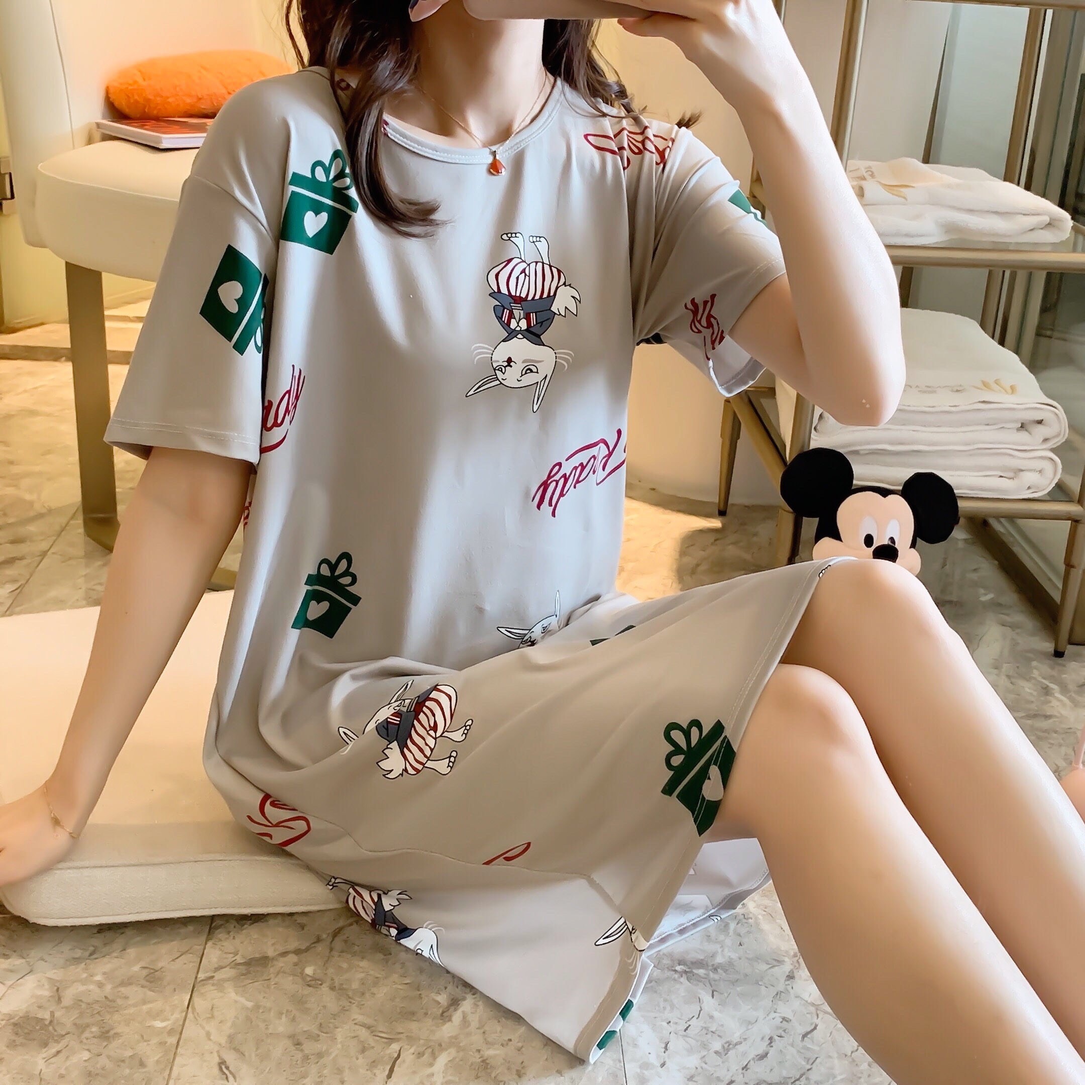 Wholesale 2020 Spring Summer Women Nightgown Home Wear Lovely Nightgowns For Women Girl Sleepwear Polyester Nightgown Shirt