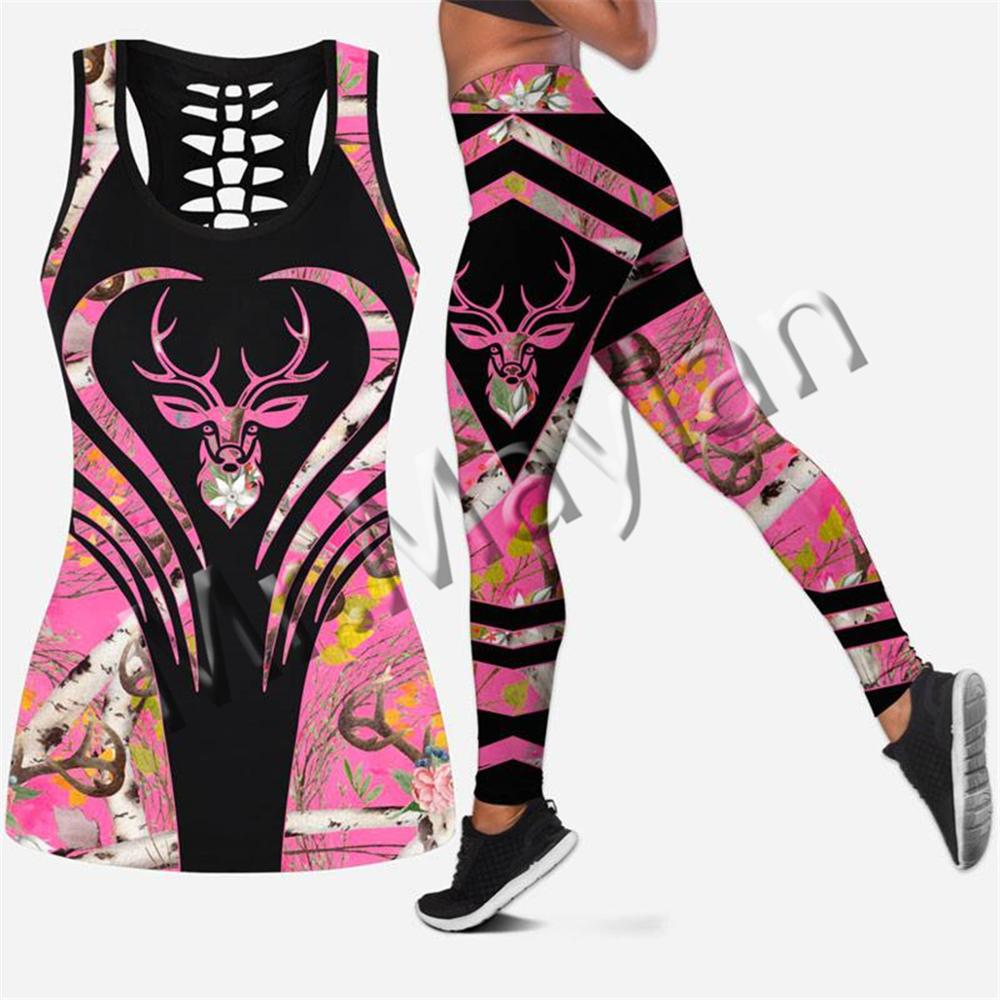 Tanktop e Leggings Peças para as Mulheres Impressão Rosa Veados Caça Animal Oco Duas Hipster Moda Sexy Colete Roupas Femininas 3d