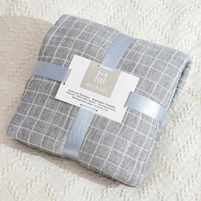 Grid Cotton Bed Blanket Women Office Nap Coverlet Bedding Cover Couch Armchair Cobertor