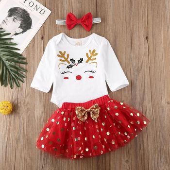 Pudcoco 3 uds. Navidad recién nacido Niñas Ropa de manga larga mameluco tapas de encaje Bowknot Tutu falda trajes otoño primavera