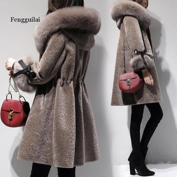 Women Faux Fur Coat Winter Thick Warm  Long Fur Coats Fashion Hoody Large fur Collar Overcoat Plus Size Outwear duoupa 2019 new fashion faux fur grain velvet coat coat long loose fur one coat faux fur large size women s fur windbreaker jack
