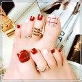 Свадебный дизайн, короткие ногти FakeToe, квадратное полное покрытие, Я прижимаю накладные ногти для ног, искусственные ногти