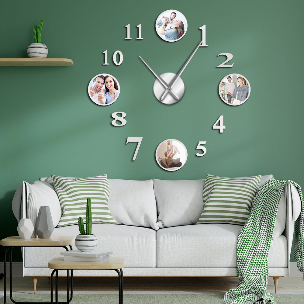 Photo Picture Frame DIY Large Wall Clock Custom Photo Decorative Living Room Family Clock Personalized Images Frame Big Clock
