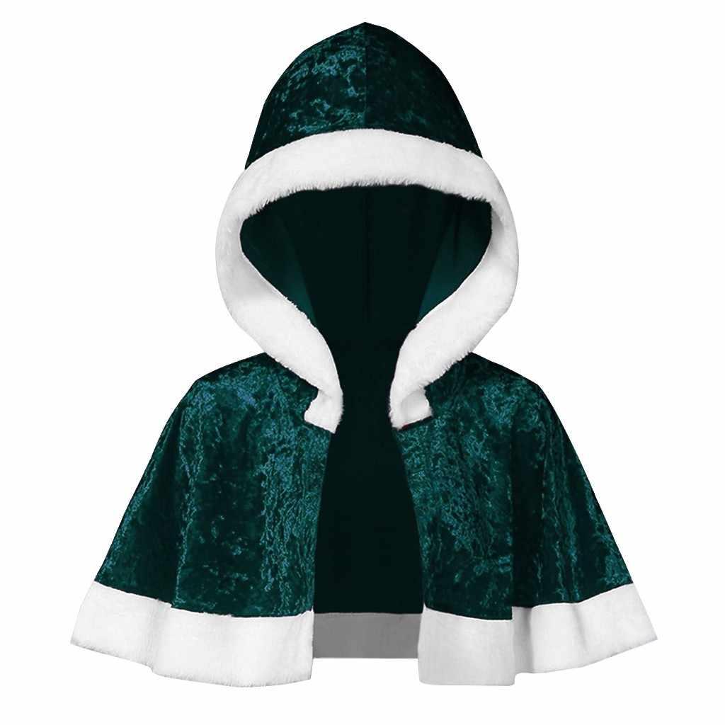 2019 クリスマスレディースコートマント家族マッチングベルベットクリスマスケープフード付きケープサンタレッドコート服ジャケット