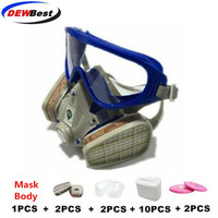 Dewbest yh2 silica gel RESPIRATOR gas mask full face carbon filter mask spray painted gas protection mask