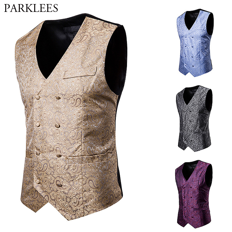 Cashew Jacquard Suit Vest Slim Fit Double Breasted Men's Luxury Vest Prom Wedding Party Waistcoat Performance Clothing  Gilet