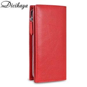 Image 2 - DICIHAYA marki prawdziwej skóry długi portfel damski Alligatos kieszeń na suwak torebka sprzęgła pieniądze etui na telefon, karty uchwyt damskie portfele