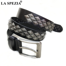 LA SPEZIA Men Belt Genuine Leather Punk Rock High Quality Buckle Black brand Mens for Jeans 120cm 125cm