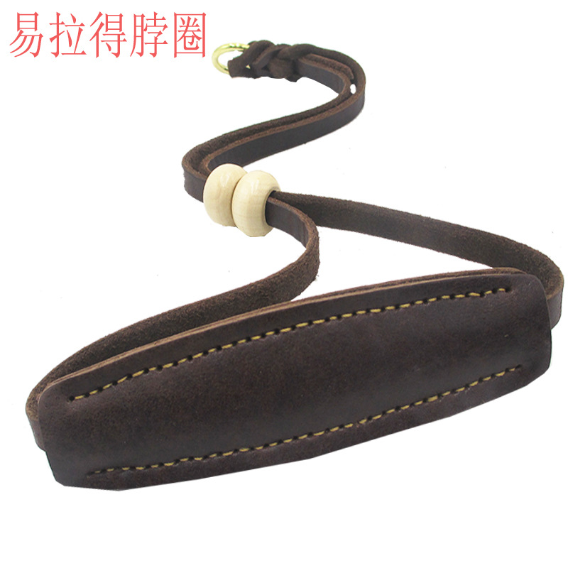 Pet Cow Leather Collar Soft Leather Anti-Wear Bite-proof Protector Drag And Over And Wooden Bead Pull Peels Cowhide Dog Neck Rin