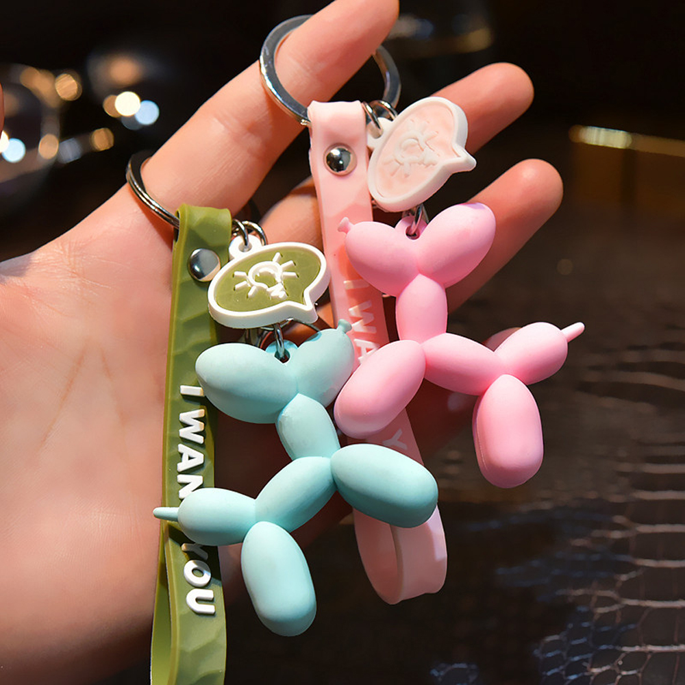 Cartoon Balloon Dog KeychainS Colorful Soft Rubber PVC Lovely Dog Keychains For Women Key Chain Car Key Ring Bag Pendant Jewelry