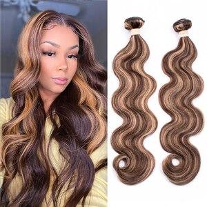 Image 1 - Beaudiva גוף גל אור חום Hightlight חבילות P4/27 #2, #4 צבע ברזילאי גוף גל 100% רמי שיער טבעי חבילות
